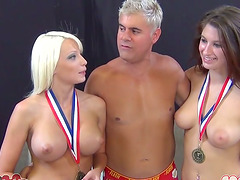 Two smoking hot chicks are loving this dude's thick cock
