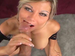 Busty blonde mom Ana Nova titfucks a cock before taking a ride on it
