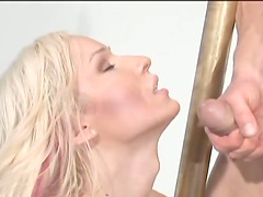 Blonde shemale Khloe Hart blows and gets fucked from behind