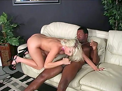 Blonde with Big Tits Enjoys Riding Some Big Black Cock
