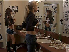 Hot Lesbians Fingering and Toying in a Club's Bathroom