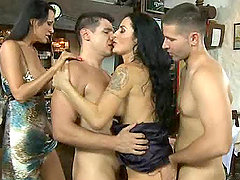 Two hot brunettes get cum on their assholes in foursome reality