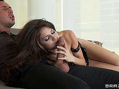 Jenni Lee nibbles on his cock then takes it deep in the ass