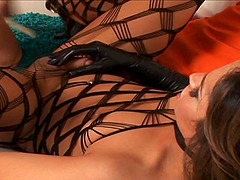 Stunning Shemale In Fishnet Attire Yells As She Gets Ravished