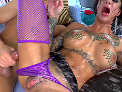 Tattooed Cowgirl With Fake Tits Drilled Missionary