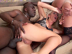 Cameron Gold has a black cock in her pussy and white cock in her ass