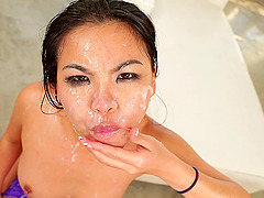 Lovely porn Asian sweetheart gets banged in nasty group bang adventure