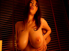 Naughty Asian babe with massive tits getting her wet pussy licked