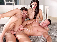Excellent hardcore bi threesome porn