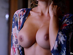 Busty Ana Cheri gets naked and shows off her killer tits