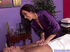 Big tits massage babe makes his cock happy with her hands