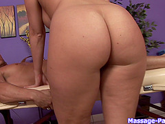 Horny blonde masseuse massaging and sucking one very lucky man