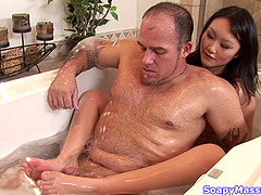 Chubby dude loves this body massage from an Asian hottie