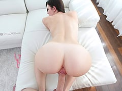 Curvy ass brunette girlfriend has her shaved meaty pussy drilled