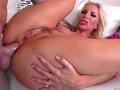 Ashley Fires uses her toy then moves on to his hard cock