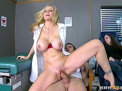 Slutty nurse convinces him to cheat with her shaved pussy