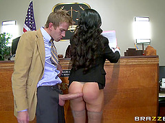 Inveigle babes give in to hardcore fucking at a courtroom in a reality shoot