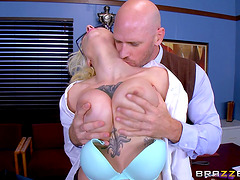 Busty Harlow Harrison enjoys riding the schlong of her bald lover