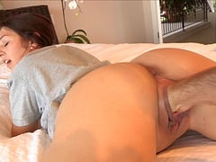 Camera guy fist fucks this cute brunette with a shaved pussy