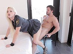 It is An all-out fuck with this high heeled ranger blonde and her colleague