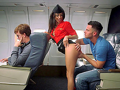 Slutty stewardess bent over and fucked by a man on a plane
