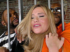 Horny black inmates bang the succulent blonde in the prison