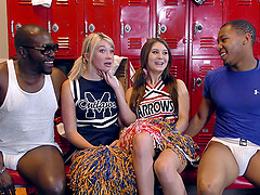 Succulent white chicks banged by black guys in the locker room