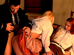Serving wenches and the master of the house have anal sex
