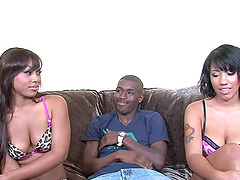 Black butt ebony riding big black cock in threesome
