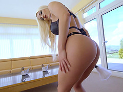 Sensual blonde chick with nice buttocks takes it up her asshole