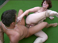 Slutty granny masturbates and rides on a throbbing meat pole