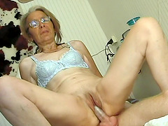 Kinky granny Lonnie loves sucking and riding on a hard boner