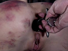 Brunette lady's body bruised by a randy stallion's toys