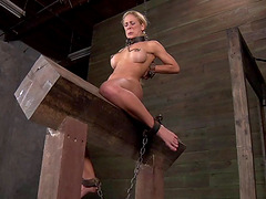 Yells as hot ass slave gets screwed with toy in BDSM shoot