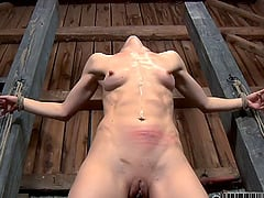 Bondage dame with natural tits face fucked in BDSM torture