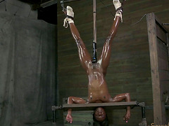Upside down ebony princess has a blast while sucking a boner