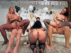 Three truly breathtaking ladies getting dicked at the same time