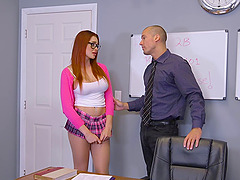 Hottest redhead schoolgirl in history getting a bonking on the table