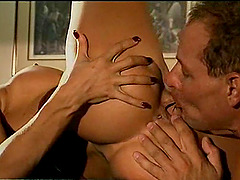 Blonde plays with her cunt while a brunette rides a cock