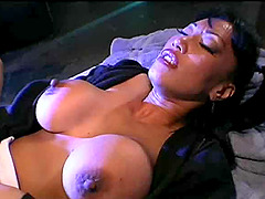 Captivating big tits brunette cock riding while moaning