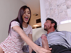 Man with a massive dong get lucky with a randy brnette babe
