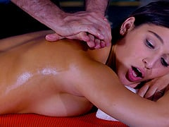 Lucky masseur gets to play with two ladies' amazing bodies