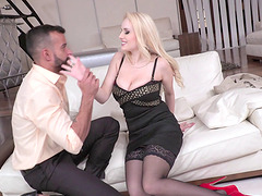 Blonde with fine ass in stockings yelling when her anal is fucked