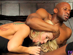 Simone Sonay cannot resist her black hunk's warm touch