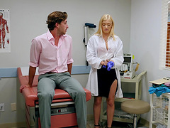 Doctor Giselle Palmer pleasing her patient orally and getting boned