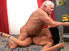 Smoking hot brunette prostitute Tera Joy gets banged by a grandpa