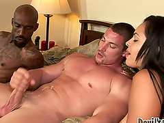 Horny Angelina Stoli gets in a threesome sex with two bisexuals