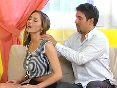 Hot Bettina gets her hairy pussy stretched by a fat pecker
