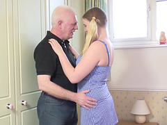 Naughty babe Mona B. pleases an older guy by fucking with him