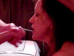 Horny Wife Sucking Fat Cock Until Cum In Mouth